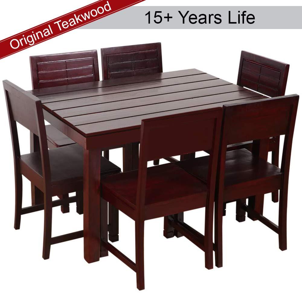 Furny taj teak wood 6 seater dining table set mohgany polish amazon in electronics