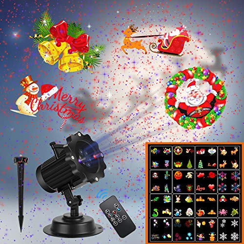 Christmas Projector Lights,UNIFUN 16 Patterns LED Projector Lights with red and Blue Star Laser Waterproof Landscape Light for Celebration Christmas,Thanks Giving,Birthday and Party Decoration