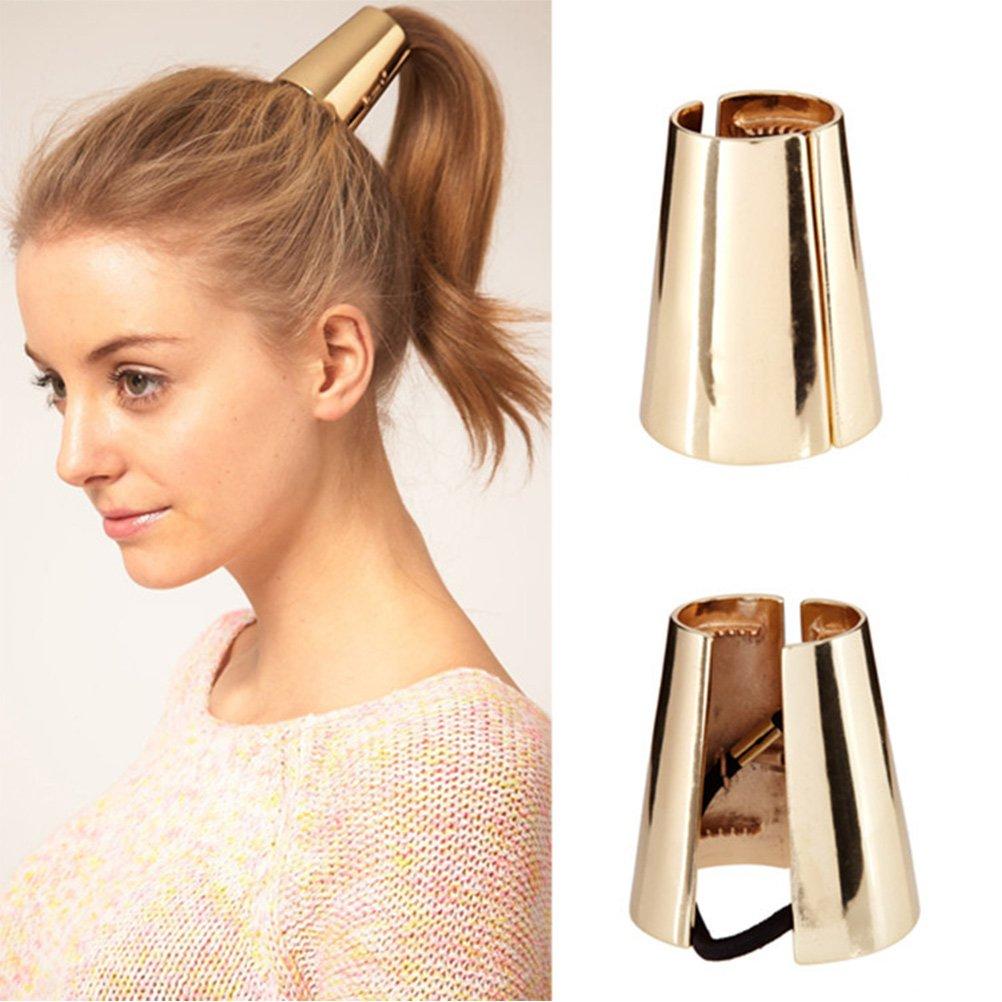 Gothic Punk Metal Hair Ties Tmalltide Women Girl Metal Elastic Hair Clips Ponytail Hair Cuff Headwear Hair Band Hair Holder Gold