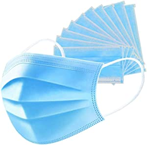 graffitimaster 50 PCS Disposable Eye Mask Dust Breathable Earloop Face Mask Comfortable Sanitary Mask 3-ply Face Shield - US Stock, blue
