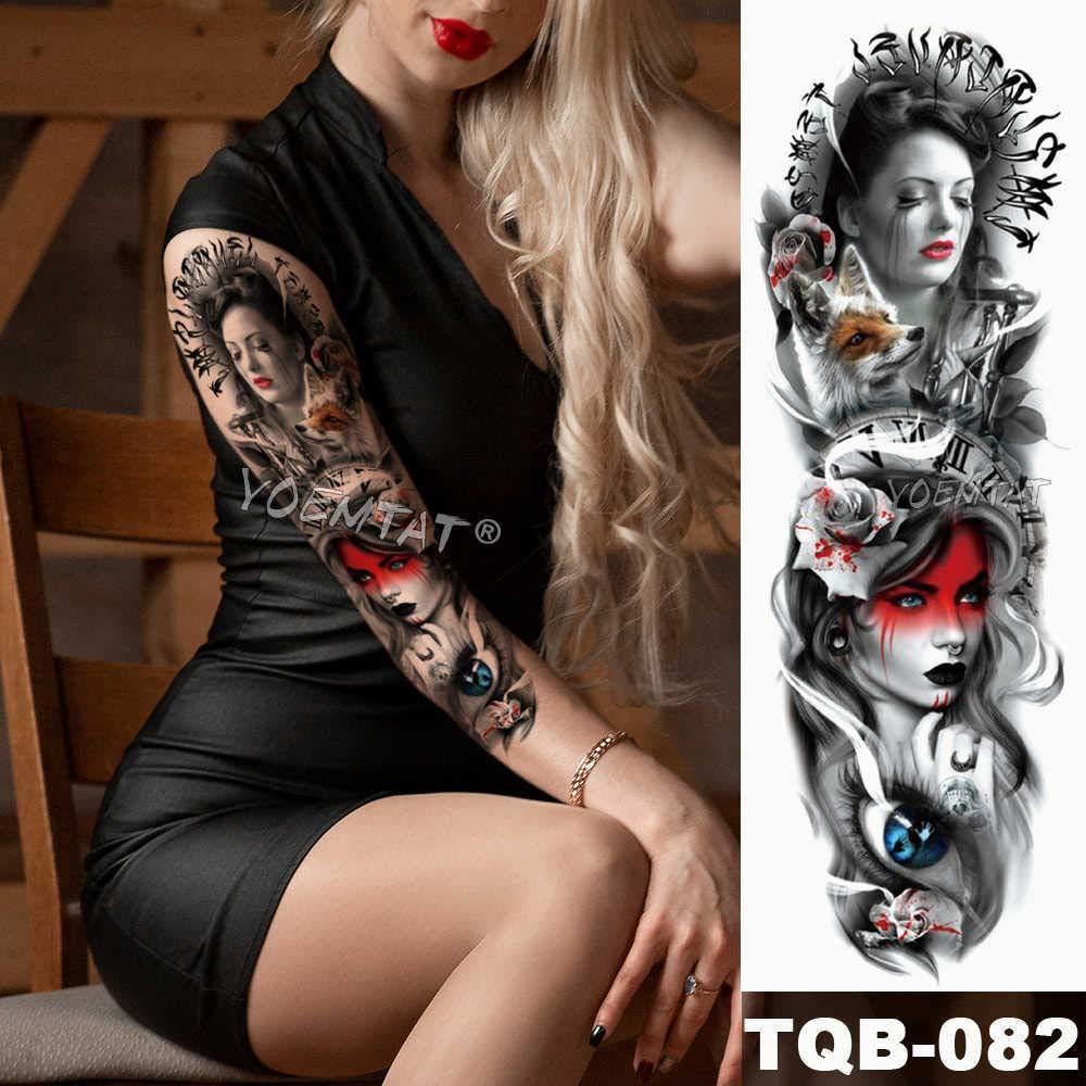 Brazo grande manga tatuaje boceto león tigre impermeable temporal ...