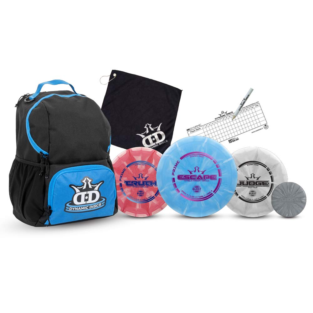 Dynamic Discs Disc Golf Starter Set | Blue/Black Cadet Disc Golf Bag Included | 17+ Disc Capacity | Prime Burst Disc Golf Frisbee Set Included | Putter, Midrange, Driver | 170g plus | Colors will vary