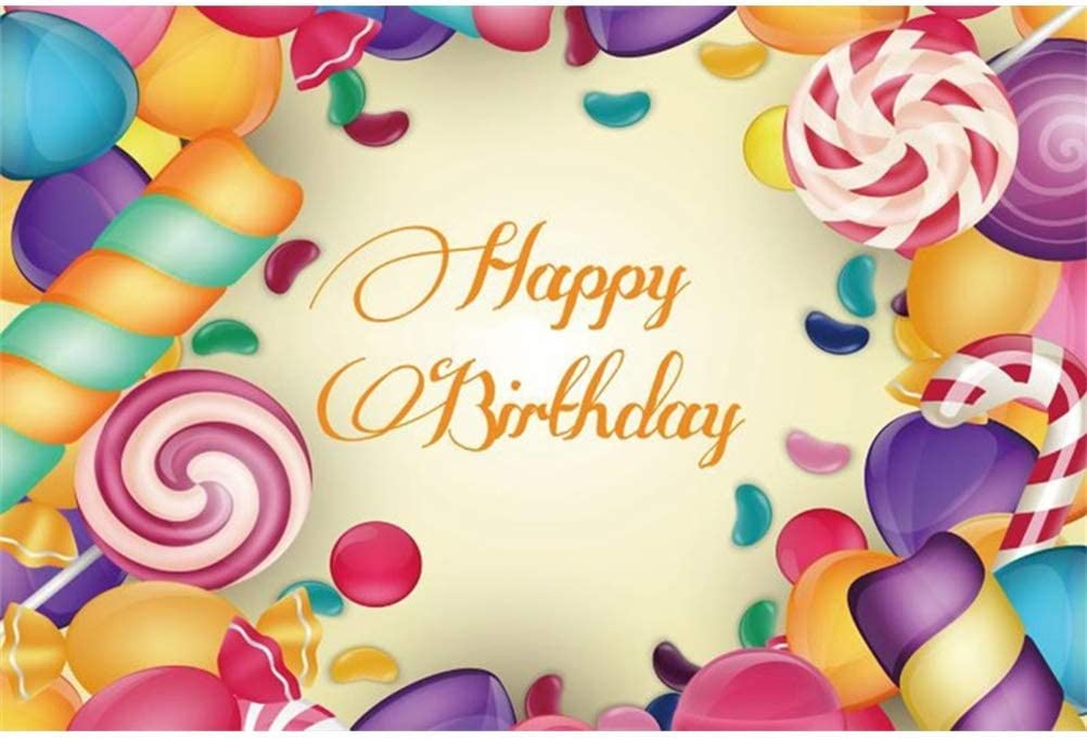 10x8ft Happy Birthday Vinyl Photography Background Cartoon Sweety Swirl Lollipops Candies Frame Backdrop Child Baby Girl Birthday Party Banner Baby Shower Wallpaper Studio