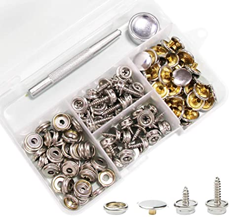 60Pcs Screw Snaps Canvas Snaps Kit 15mm Fastener Screw Snaps for Boat Cover Furniture with 2Pcs Setting Tool