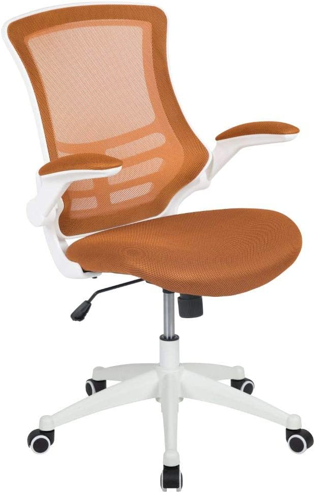 Flash Furniture Mid-Back Tan Mesh Swivel Ergonomic Task Office Chair with White Frame and Flip-Up Arms