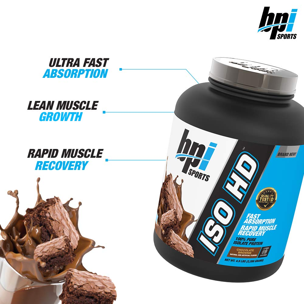 BPI Sports ISO HD 100% Protein Isolate & Hydrolysate, Chocolate Brownie, 5.4 Pound by BPI Sports (Image #4)