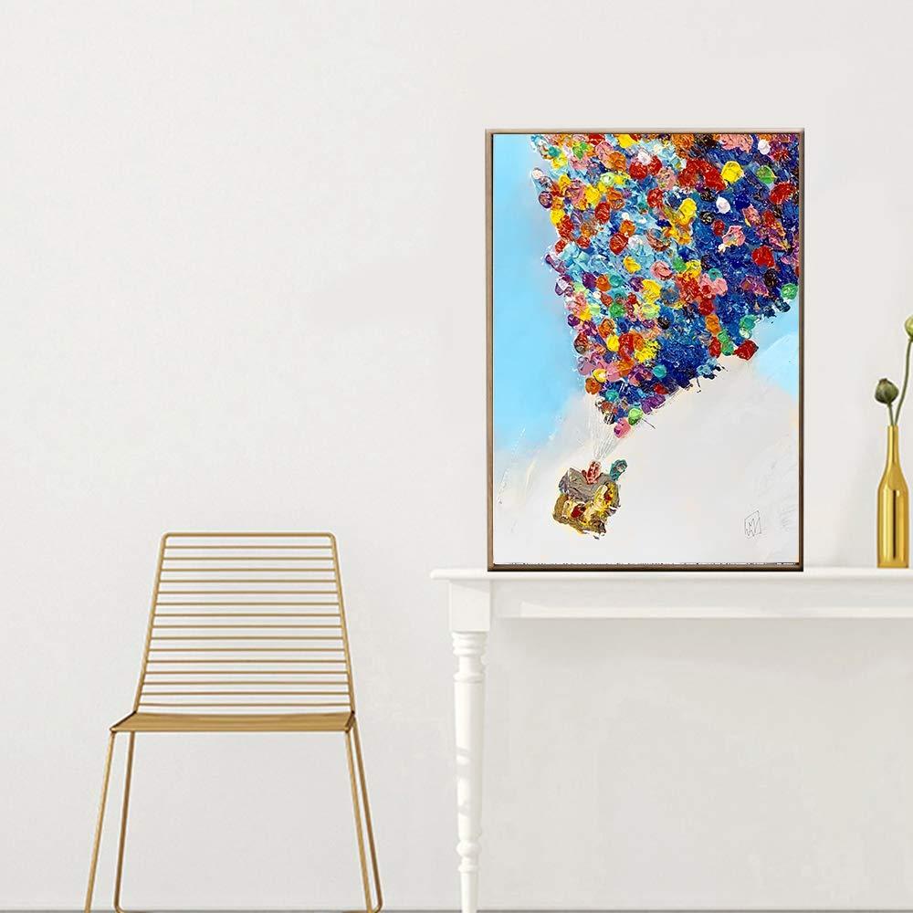 marca de lujo QIAISHI Oil Up Air Balloon House Paintings Paisaje Paisaje Paisaje sobre Lienzo caligrafía Pintura Fotos para niños decoración de la habitación  primera vez respuesta