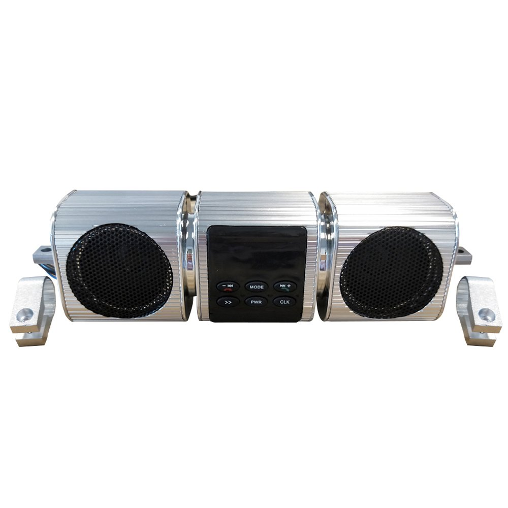 KKmoon Stereo Speakers Fine-quality Voice Waterproof Motorcycle Audio Radio Sound System BT MP3 FM Striped Aluminum Alloy Power Music Player High Sound Motorcycle TF/USB/AUX Multifunctional Silver