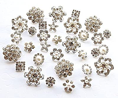 20 Rhinestone Buttons Assorted Starfish Round Circle Oval Square Pearl Crystal Hair Flower Comb Clip Wedding Invitation BT098