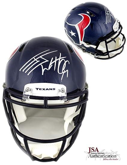 J.J. Watt Autographed Signed Houston Texans Riddell Authentic Speed NFL  Helmet cd374eb1a