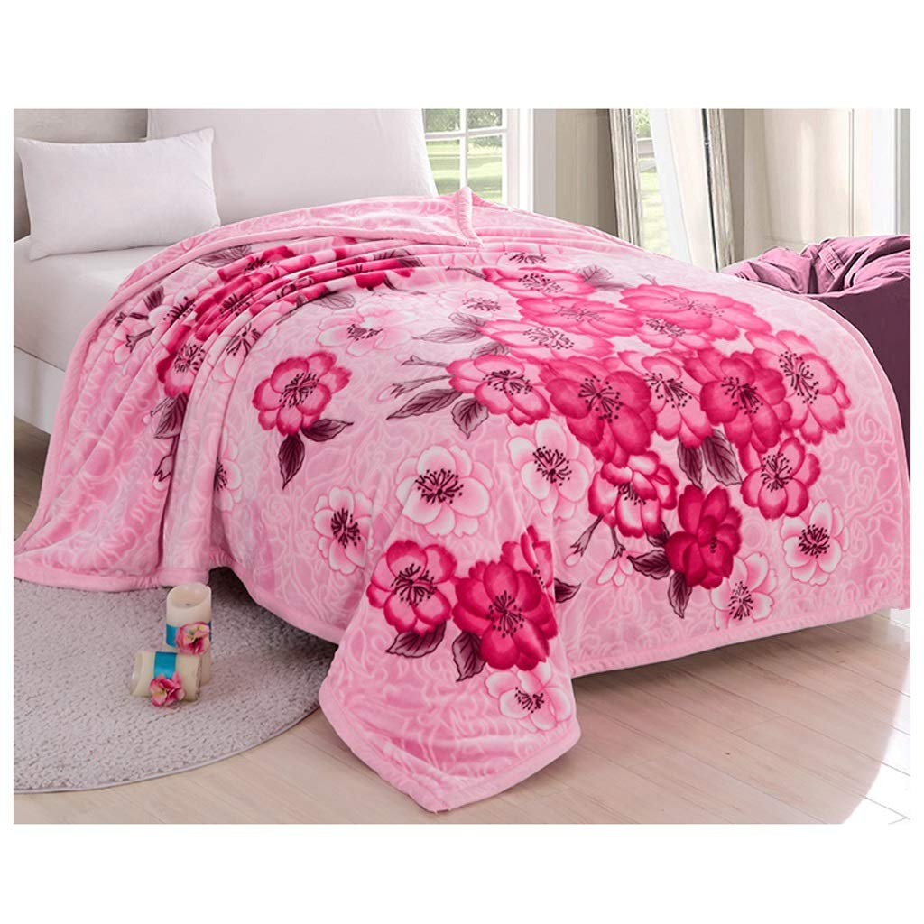 ピンクのダブルレイヤー毛布冬の厚いベッドルームベッドブランケットリビングルームレジャーブランケットフォーシーズンズAvailable 150 * 200cm Rollsnownow B07K45GJ5W