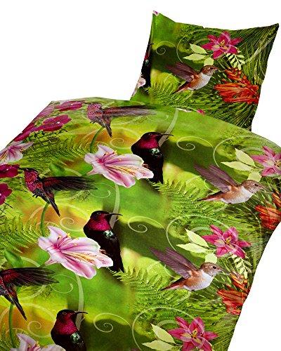 2 tlg. Bettwäsche 135 x 200 cm Vögel Kolibris in der Natur grün aus Baumwolle Renforcé Set mit Reißverschluss