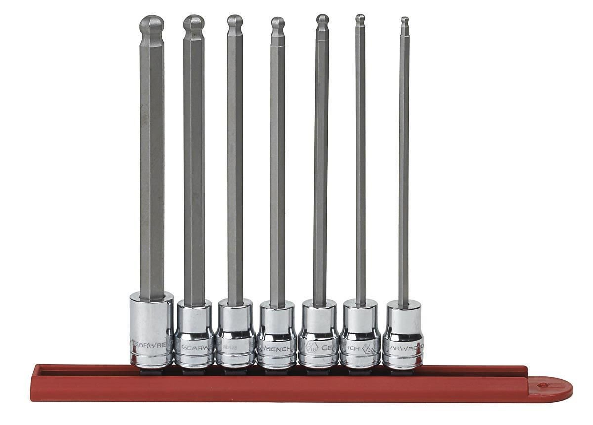 GearWrench 3/8DR 80574 7 Pc. SAE Long Ball Hex Bit Socket Set