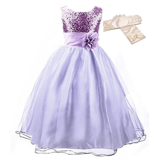 GenialES® Vestido con Guantes Largos de Fiesta para Niñas Disfraz de Princesa Linda Dulce Bonito Cute Wedding Party Dress a Partir de 4 a 15 años: ...
