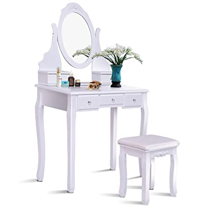 Giantex White Bathroom Vanity Dressing Table Set Mirror Stool Round 5 Drawers