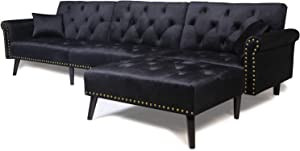 Sectional Sofa Bed with Chaise Recliner Back Modern Day Bed Nailhead Trim for Living Room Small Spaces (Black)
