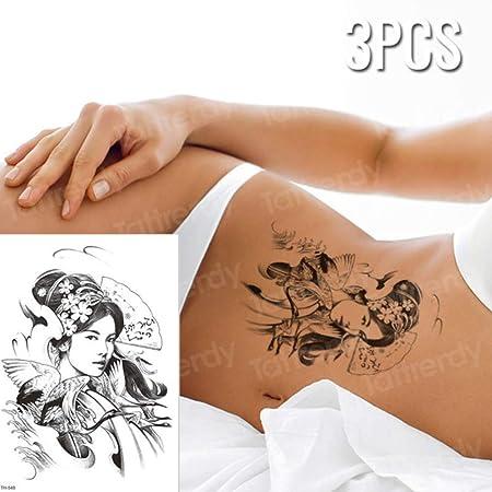 Handaxian 3pcs Hermosa niña Flores Pulsera Collar Tatuaje Geisha ...