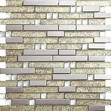 Farben Optional Spiegelglas Mix Metall Edelstahl Mosaik Fliesen Für Wand/Boden,  30x30cm