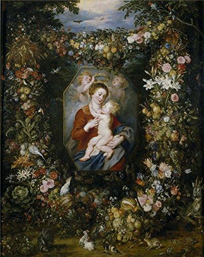 Oil Painting 'Rubens Peter Paul Brueghel The Elder Jan La Virgen Y El Nino En Un Cuadro Rodeado De Flores Y Frutas 1617 20' 24 x 30 inch / 61 - Santa Airport Anna