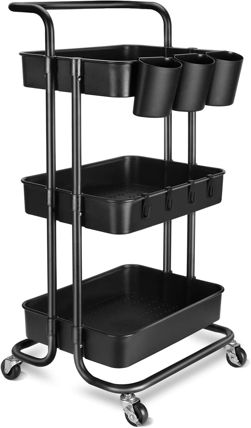 3-Tier Rolling Mobile Utility Cart with Hanging Cups & Hooks & Handle Multifunctional Organizer Storage Trolley Service Cart with Wheels Easy Assembly for Office, Bathroom, Kitchen (Black)
