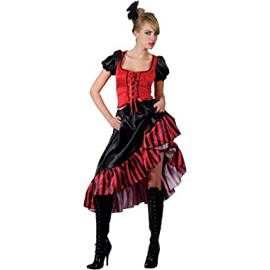 Can Can Saloon Girl - Adult Costume Lady S (UK10-12  sc 1 st  Amazon UK & Ladies Can Can Saloon Girl Red Outfit Costume for Moulin Rouge Wild ...