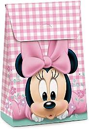 Caixa Para Presente Trapézio Cromus Embalagens na Estampa Minnie Baby Flowers com Aba de Fechamento 23x10,5x35 cm com 10 Unid