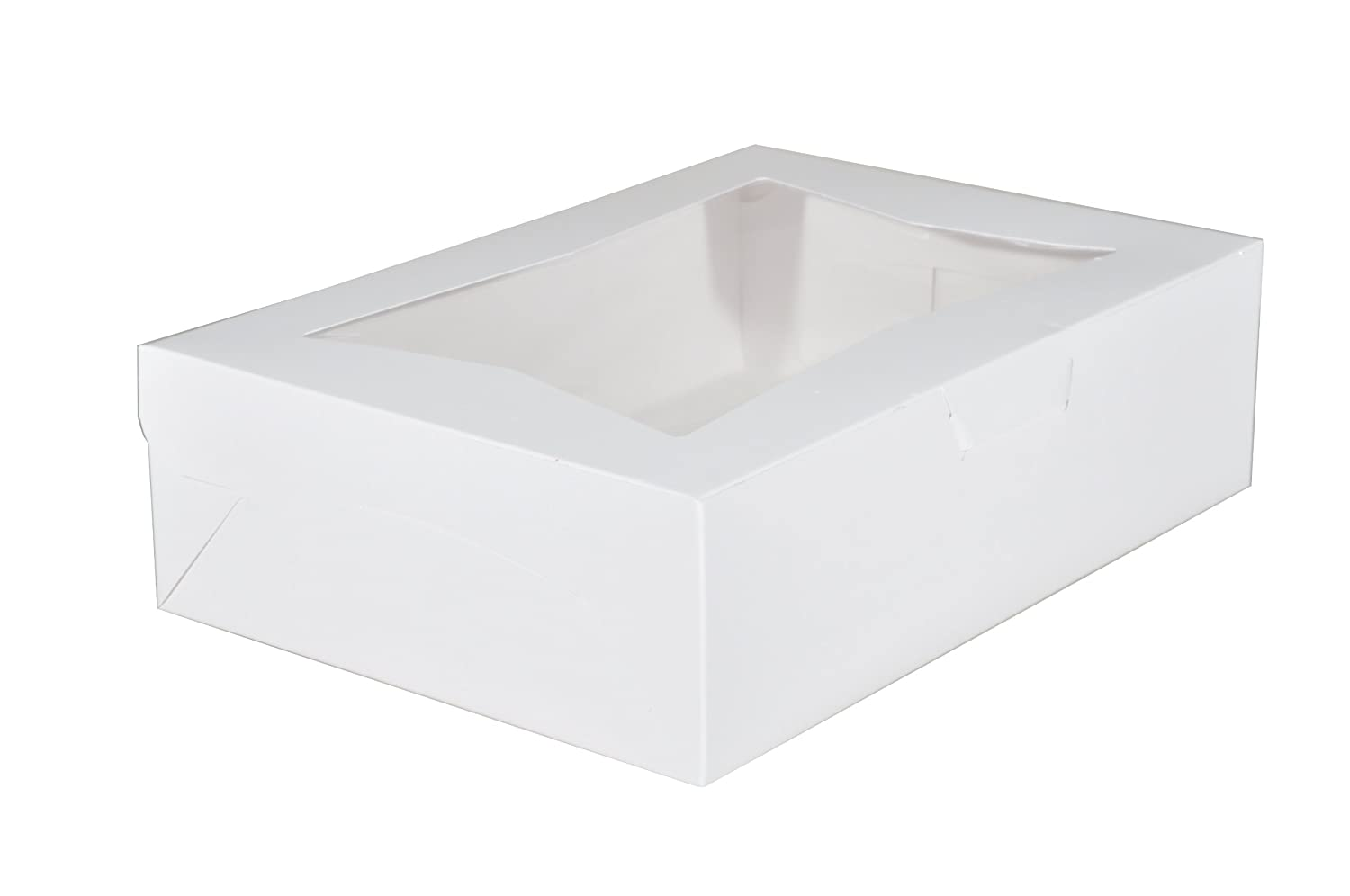 "Southern Champion Tray 23093 Paperboard White Lock Corner Window Bakery Box, 14"" Length x 10"" Width x 4"" Height (Case of 100)"