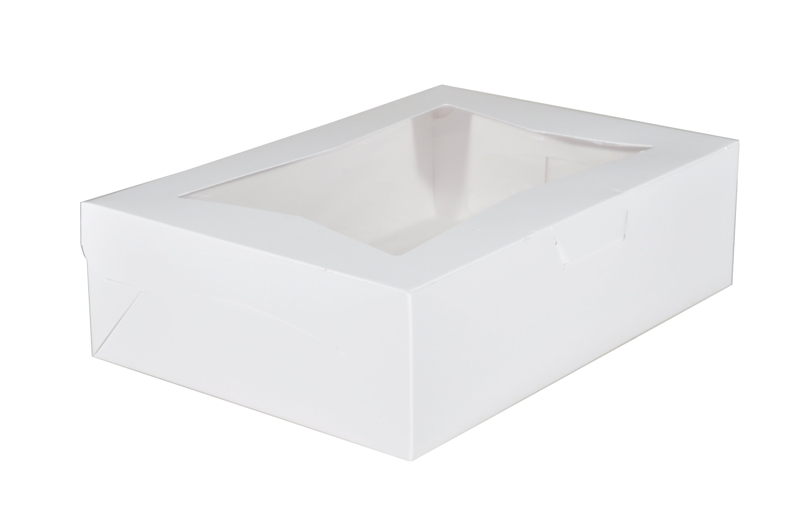 Southern Champion Tray 23093 Paperboard White Lock Corner Window Bakery Box, 14'' Length x 10'' Width x 4'' Height (Case of 100)