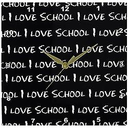 3dRose DPP_183199_1 I Love School Chalkboard Wall Clock, 10 by 10