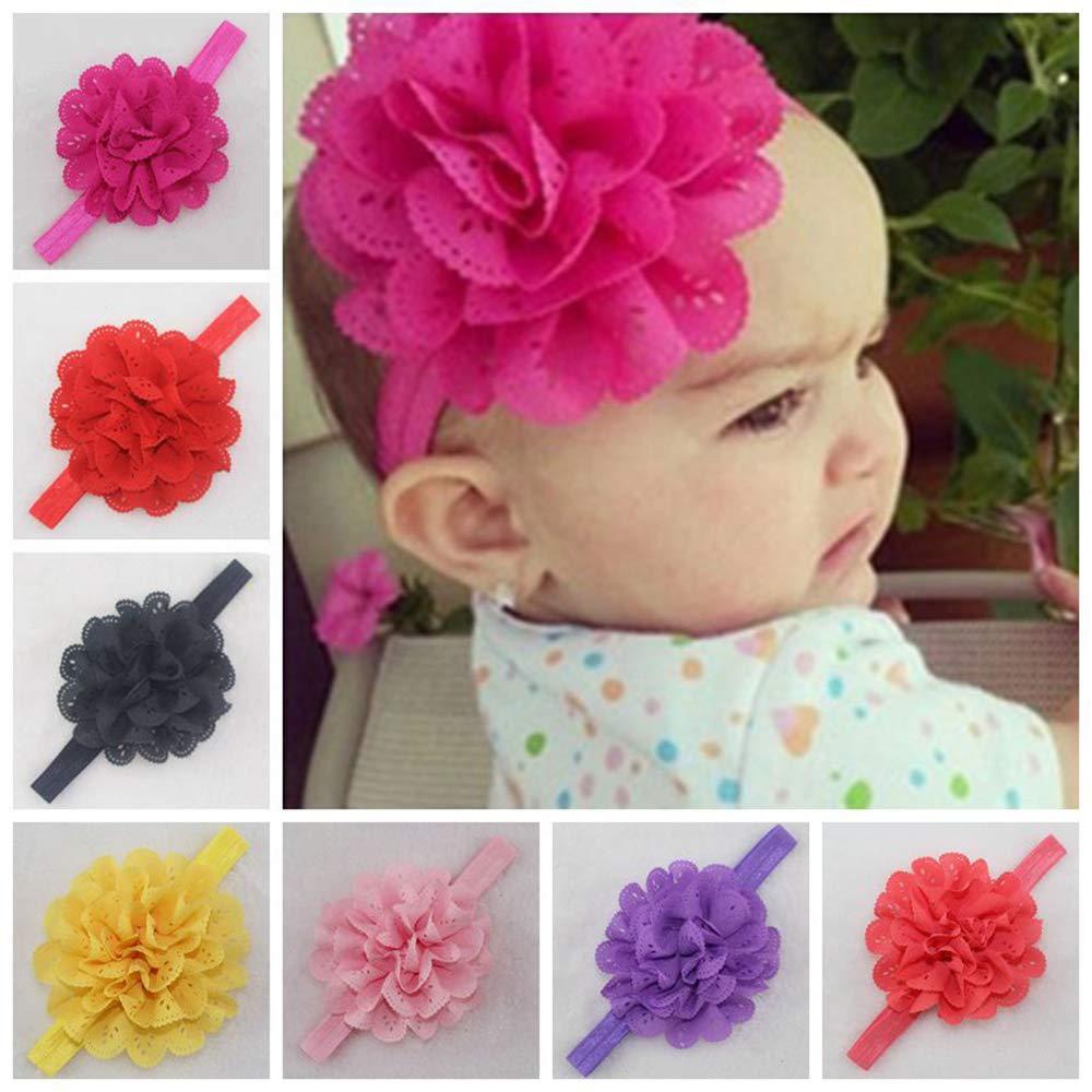 Ogquaton 8 pezzi Fascia per capelli per bambina Fiore Turbante Copricapi Copricapo per bambine infantili Creativo e utile