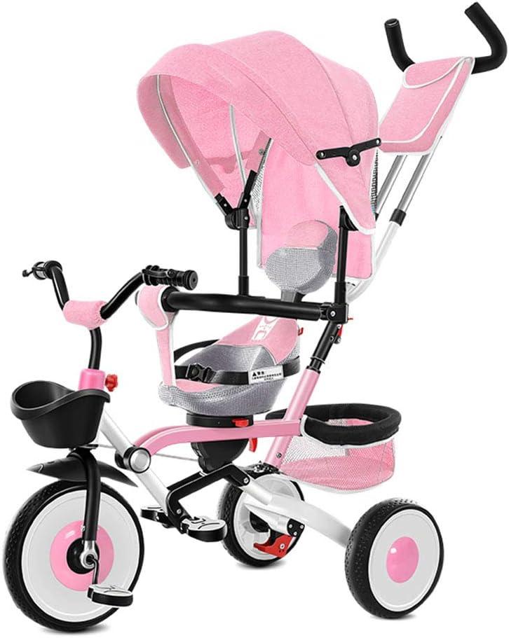 Triciclo Infantil Multifuncional Cuatro En Uno, Carrito Plegable Para Bebés, Bicicleta De Pedal Equilibrado, Con Cinturón De Seguridad, Toldo, Sistema De Doble Freno, Rodamiento De 25 Kg