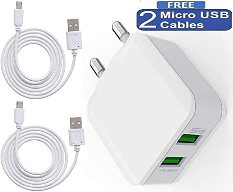cableBasket 3 in 1 - 2. 1 A Charger with Dual USB Port for Smartphones (White) Mobile Phone Car Chargers at amazon