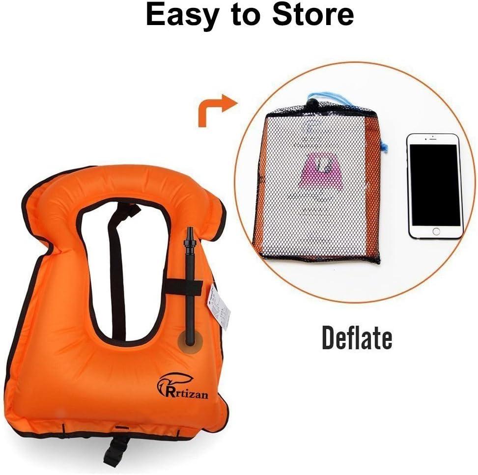 Rrtizan Adulte Unisexe Portable gonflable Tuba Gilet pour la plong/ée en Toute s/écurit/é