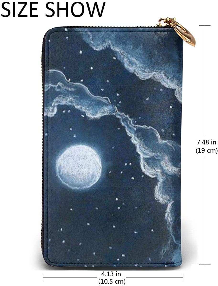 Moon Cloud Star Womens RFID Blocking Zip Around Wallet Genuine Leather Clutch Long Card Holder Organizer Wallets Large Travel Purse