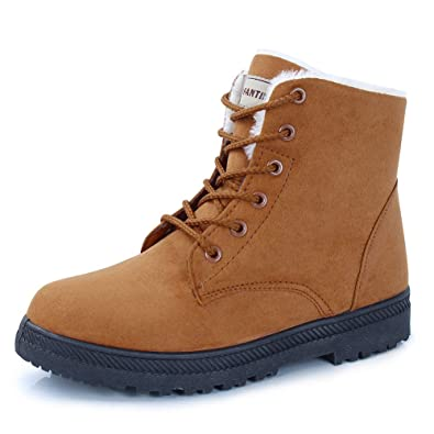 7de2c1437e6 CIOR Women's Winter Boots Warm Suede Lace up Snow Boots 2019 Waterproof PU  Shoes