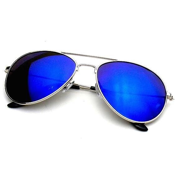 eb6fd8af39 Premium Classic Metal Reflexivo Espejo Lente Aviador Gafas De Sol (Azul)