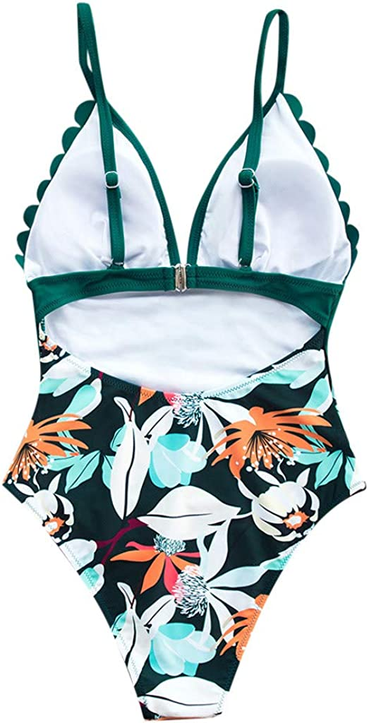 Swimsuits for Women One Piece Tummy Control,Ruffled Flounce Swimsuit High Neck Plunge Leaf Ruched Monokini Swimwear