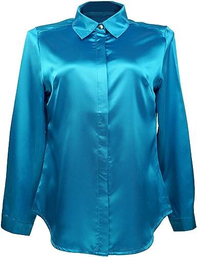 Mujer Blusa de Seda Satinada Manga Larga Camisa Formal Tops: Amazon.es: Ropa y accesorios