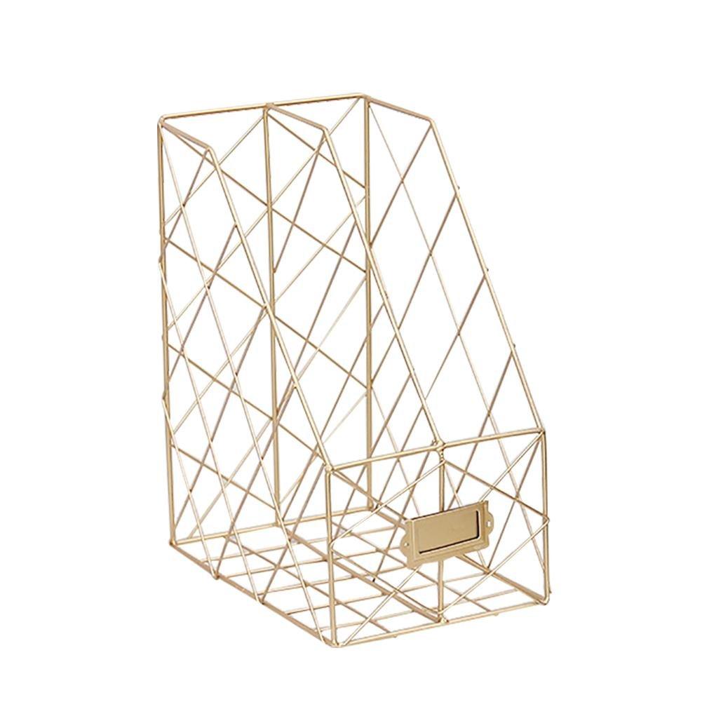 big-time Desktop Magazine File Holder with Labels,Double Grids Metal Mesh Wire Shelf Office Storage Bookshelf Storage Organizer Rustic Industrial Design Black
