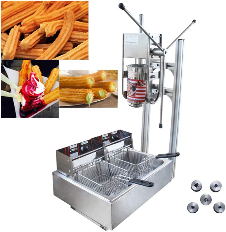 TECHTONGDA Commercial Churros Maker Machine Vertical Spanish Donut Churros Making Machine Stainless Steel with Electric Deep Fryer (5L Capacity, AC220V 5000W 12L Fryer)