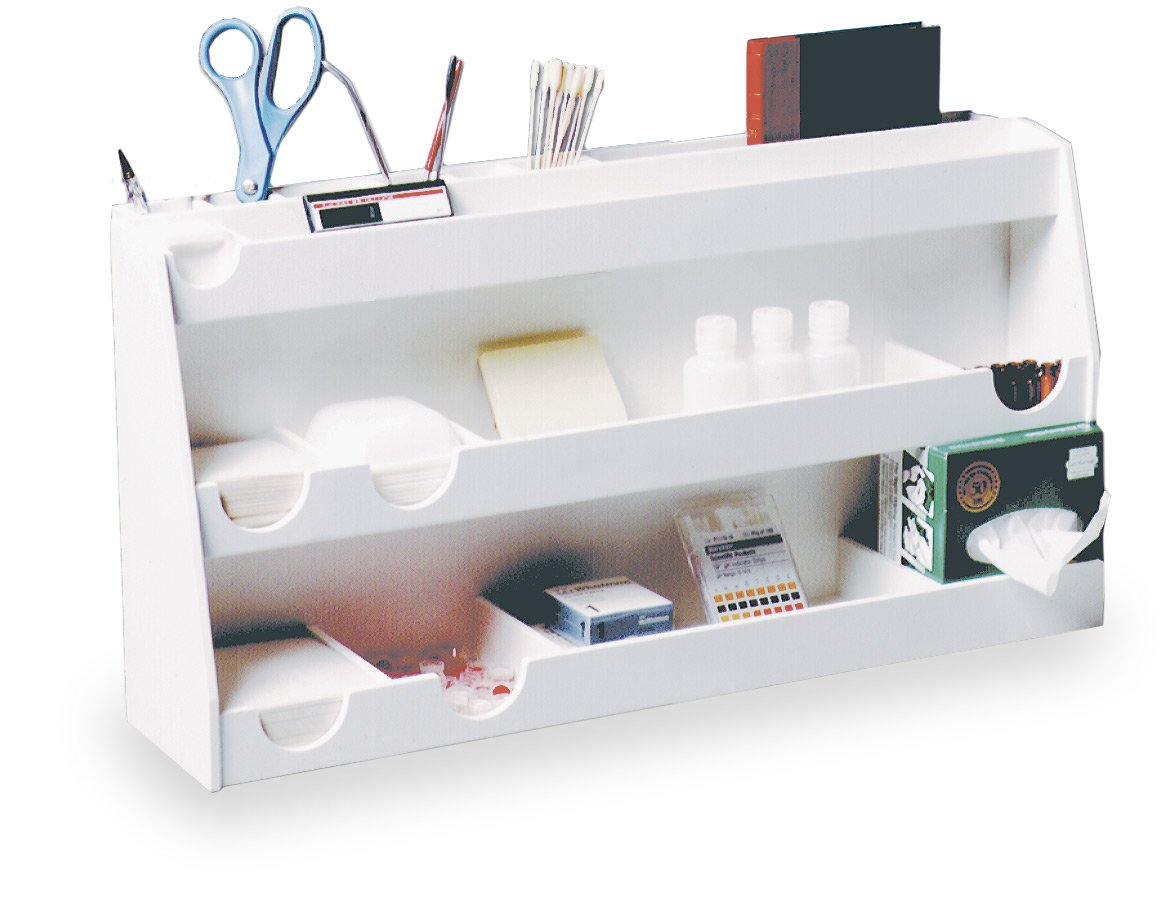 TrippNT 50124 White PVC Plastic Bench Top Personal Workstation, 17 Compartments, Large, 24'' Width x 12'' Height x 7.5'' Depth by TrippNT (Image #2)