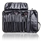 12 Pcs Studio Pro Makeup Make up Cosmetic Brush Set Kit w/ Leather Case - For Eye Shadow, Blush, Concealer, Etc (Black)