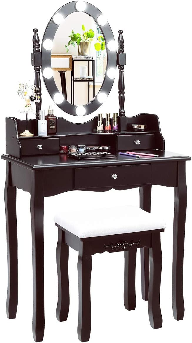 CHARMAID Vanity Set with Lighted Oval Mirror, Makeup Dressing Table with 10 LED Dimmable Bulbs and 3 Drawers, Modern Makeup Table with Cushioned Stool for Bedroom Bathroom Brown