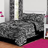 Latitude Zebra Print Bed in A Bag, Twin, White/Black