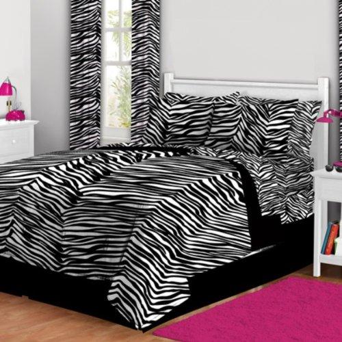 (Latitude Zebra Print Bed in A Bag, Twin, White/Black)