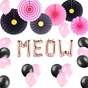 JeVenis Set of 27 Black and Pink Meow Party Balloons Meow Balloons Meow Birthday Decoration Kitten Birthday Party Decor Balloon Kitty Birthday Party Banner Meow Banner Kitty Party Cat Birthday Decor Kitty Cat Party Supplies