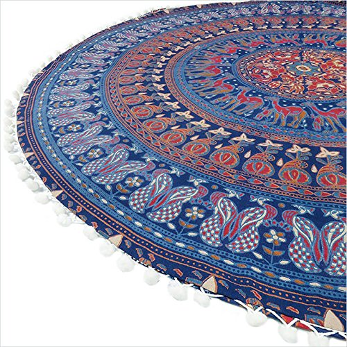 Eyes of India - 32'' Blue Floor Pillow Cushion Seating Throw Cover Mandala Hippie Round Colorful Decorative Bohemian boho dog bed IndianCover Only by Eyes of India (Image #4)