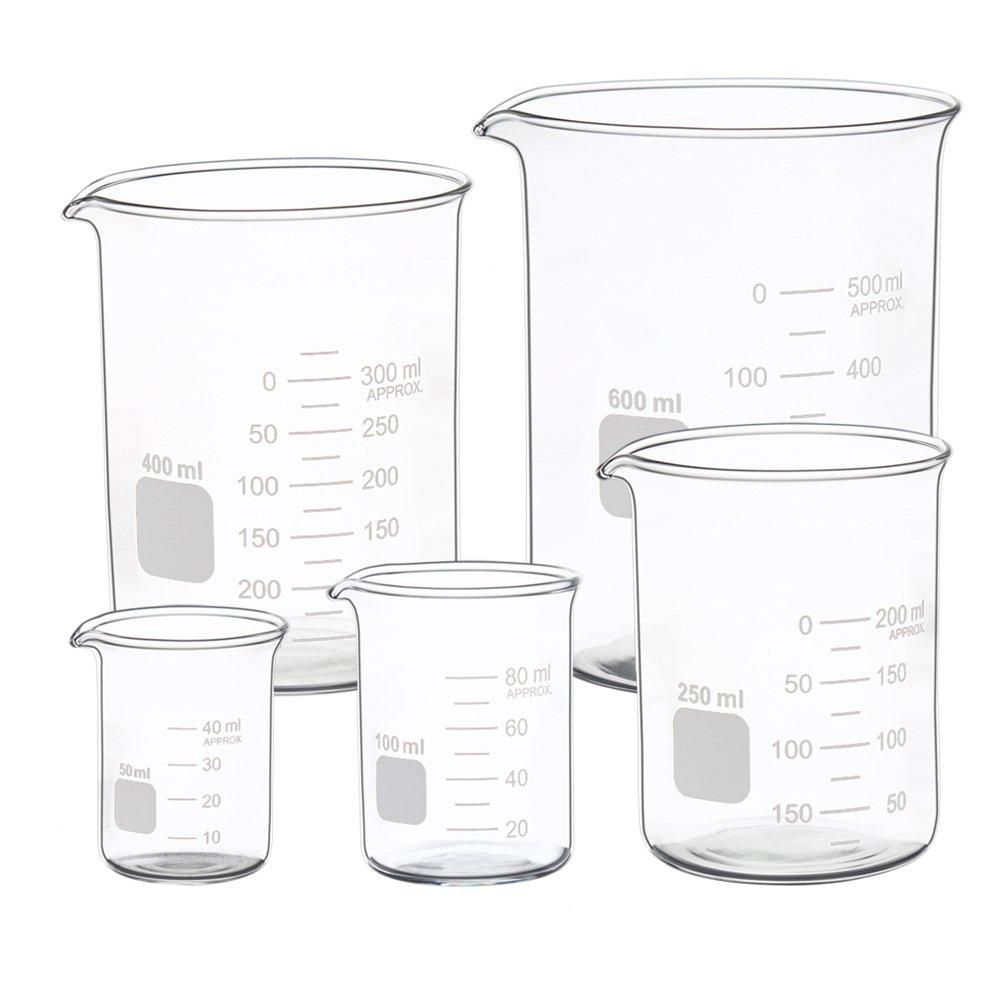 Graduated Glass Measuring Low Form Beaker Set 50ml 100ml 250ml 400ml 600 ml Ronyes Lifescience