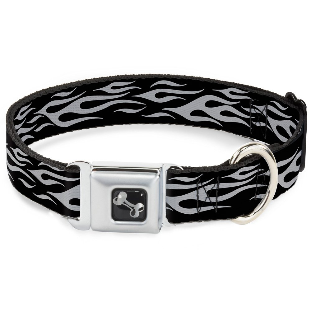 Buckle-Down Flame Silver Dog Collar Bone, Wide Small 13-18