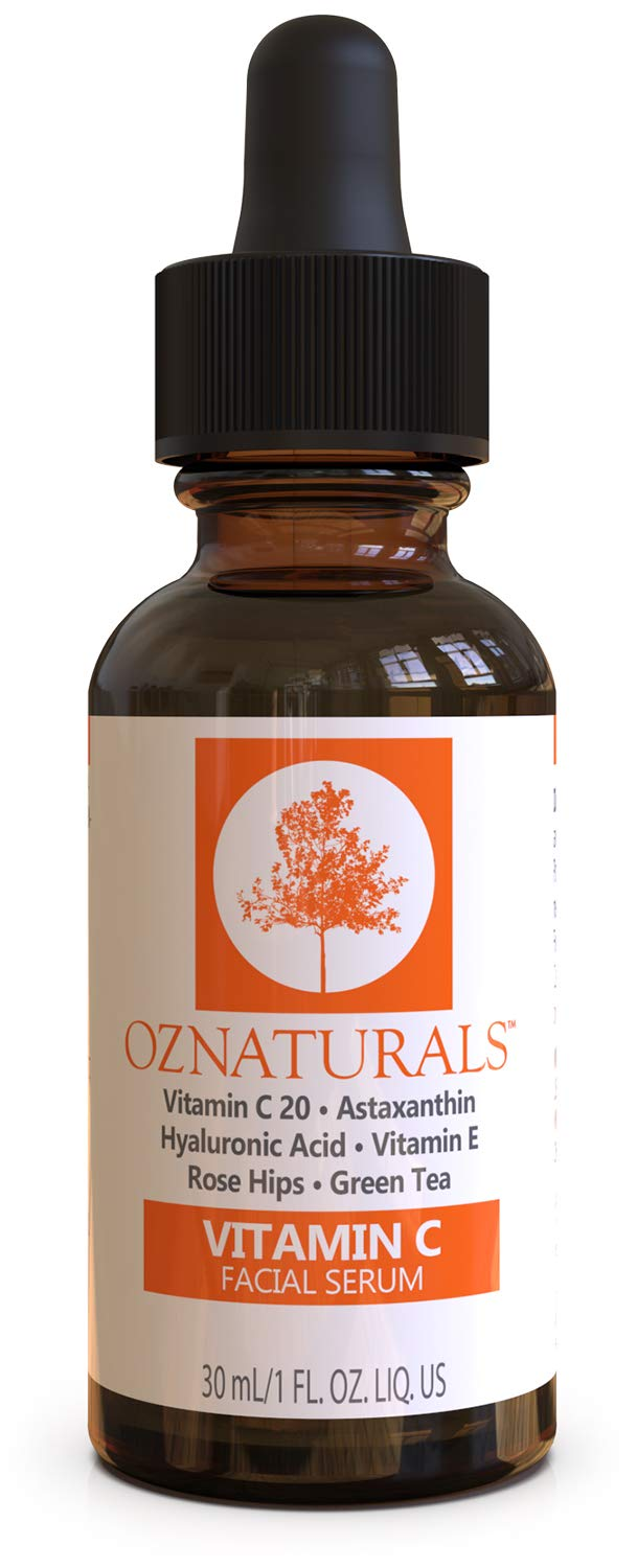 OZNaturals Vitamin C Serum for Face: Vitamin C 20 Facial and Under Eye Serum with Hyaluronic Acid - Wrinkle Remover Serum to Even and Tone Skin - Anti Aging and Brightening Skin Care Serums - 1 Fl Oz by OZ Naturals